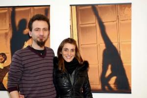 L'artista con la ginnasta Annalisa Barelli che ha posato per lui