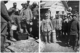 Distribuzione del rancio al Pal Piccolo e soldati con barilotto austriaco inesploso
